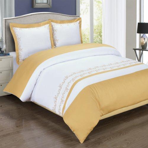 Gold und Weiß Amalia 3Full/Queen verschnörkelter Tröster Bezug (duvet-cover-set) 100% Baumwolle 300TC