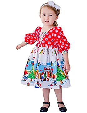 Mädchen Langarm Kleid BURFLY❤️Baby Kleid Druck Kleid Karikatur Prinzessin Partei Weihnachtskleid Ausstattungs...