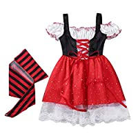 Freebily Baby Toddler Girls Pirate Fancy Dress Costume Halloween Cosplay Party Outfit with Headscarf Set
