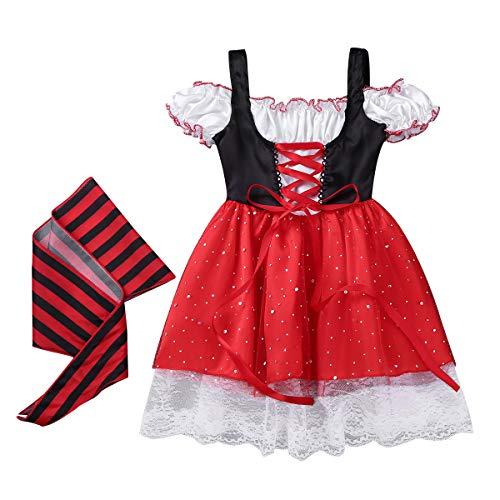 CHICTRY Karneval Kinder Piratenkostüm für Mädchen Fasching Verkleidung Kinderkostüm Piratin Pailletten Kleid mit Gürtel Cosplay Halloween Partykleid(92-128) Schwarz&Rot 104-116/4-6 Jahre