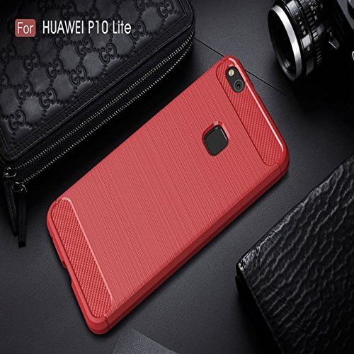 YHUISEN Huawei P10 Lite Case, Ultra Light Carbon Fiber Rüstung ShockProof gebürstet Silikon Griff Fall für Huawei P10 Lite ( Color : Red ) Red