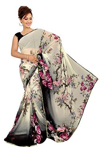 Kalaa Varsha Women's Faux Georgette Saree With Blouse Piece (2619_White & Black)