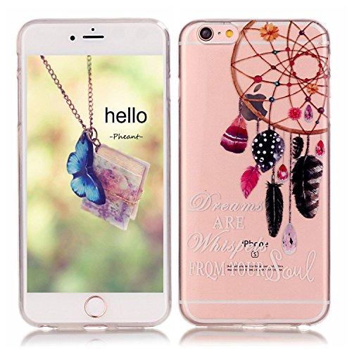 Pheant® Apple iPhone 6/6S (4.7 pouces) Coque Gel Étui Housse de Protection Transparent Cas en TPU Soulple Silicone(Coloré Plume) Attrapeur de Rêves