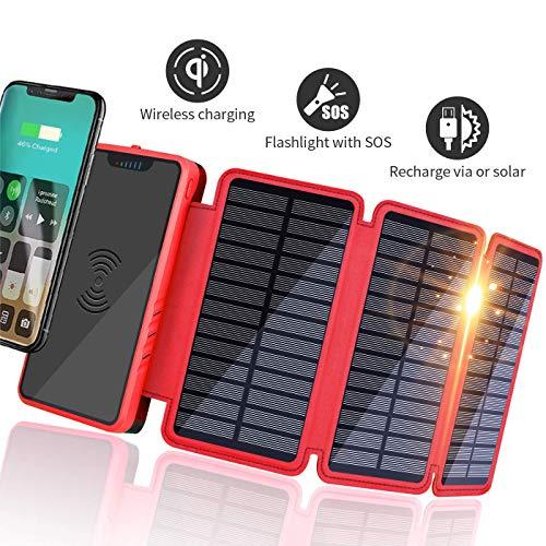 Soluser Solar Powerbank 20000mAh Externer Akku Tragbares, Hohe Kapazität 2 USB Ausgänge Kabelloses Power Pack Handy Ladegerät für Camping, Reisen