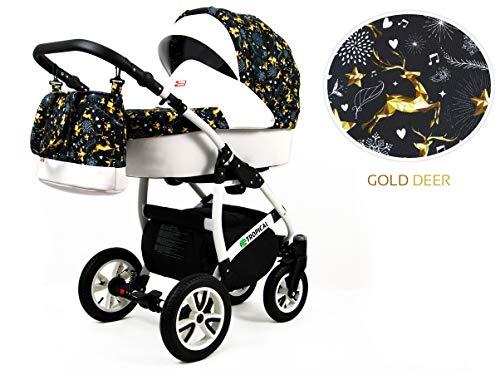 Kinderwagen Tropical,3 in 1 -Set Wanne Buggy Babyschale Autositz mit Zubehör Gold Deer