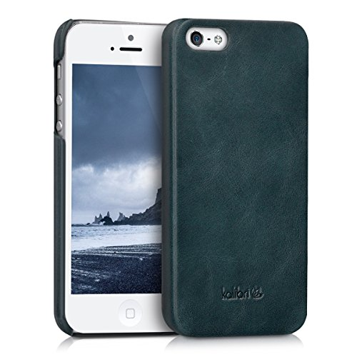 kalibri-Echtleder-Backcover-Hlle-fr-Apple-iPhone-SE-5-5S-Leder-Case-Cover-Schutzhlle-in-Dunkelblau