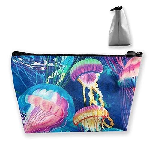 Reise-Make-up-Tasche - Cool Corlorful Quallen Muster Tasche Handtasche Organizer mit Reißverschluss für Frauen & Männer -