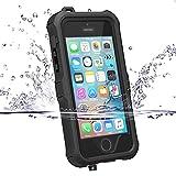 ZVE Coque iPhone iPhone 5 5S SE Case Housse Etui Etanche Imperméable Antichoc, Antipoussière Neige Anti Pluie Splash-proof Pare-chocs avec Protection d'écran pour iPhone 5s/se/5 Noir