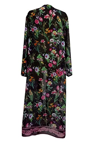 Walant Damen Kleidung Chiffon Sommer Blumen Cover Up Strandkleider Schwarz