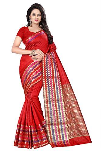 Ecolors Fab Cotton Silk Saree (Sayan_250_Saree_Red_Free Size )