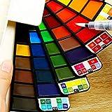 33 Colori Assortiti Colori ad Acquerelli Set, Artista Set di Padelle per Artisti, Includi Art Acquerelli a Pennello - Acquarello Portatile Pigmento Perfetto per Studenti Scolastici Bambini Artista Principiante per Appassionati