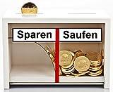 Lustige Spardose Sparen - Saufen aus Holz in Weiß - Geld rutscht Nur zu Einer Seite - Geldgeschenk für Männer + Frauen die Gern Einen Trinken