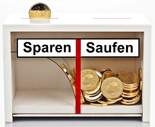 Lustige Spardose Sparen - Saufen aus Holz in Weiß ==> Geld rutscht nur zu einer Seite - Geldgeschenk für Männer + Frauen die gern einen Trinken (weiß) (Lustige Geld-scheine)