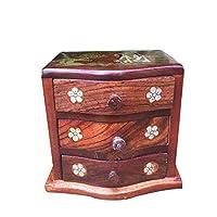 SMAQZ Mahogany Jewelry Box - Grass Rosewood Jewelry Box, Multilayer Jewelry Box