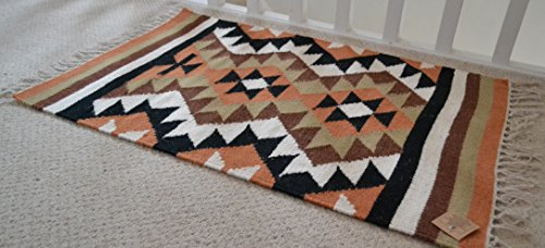 Designs Emporium Kelim Teppich Wolle indischen handgeknotet Diamant Harlequin Marokkanische braun 60cm x 90cm - Kelim Teppiche Teppiche