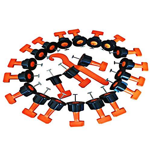 Fesjoy 50 Stücke Tile Leveling System mit Spezialschlüssel, Wiederverwendbare Spacer Bodenbelag Level Fliese Leveller Set Nivelliergerät Level Locator Ausrichtung Hilfswerkzeug Kit für Wände & Böden -