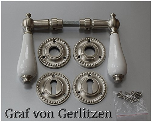Graf von Gerlitzen Antik Messing Nickel Tür Griffe Türgriffe Türbeschlag Türdrücker Rosetten BB Porzellangriff N6N - Rosette Nickel