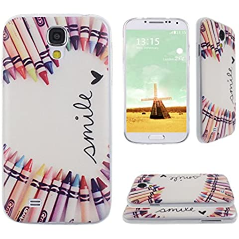 Asnlove para Samsung Galaxy S4 IV I9500 I9505 cover funda carcasas de Gel TPU silicona transparente suave ultra delgada goma cubierta de tapa trasera case-Lapices de coloridos