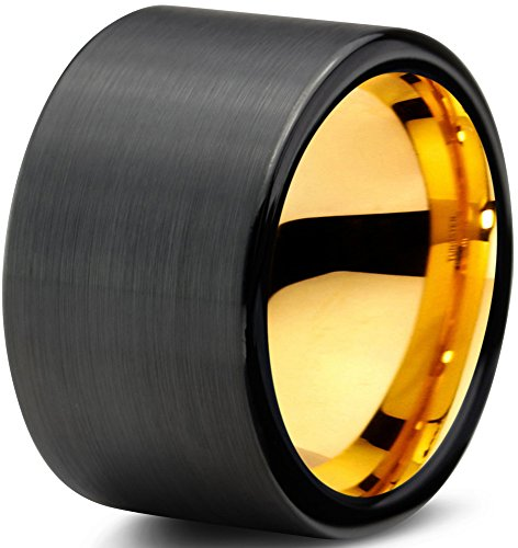 Tungsteno Wedding Band Anello 12mm per uomo e donna Nero e Oro Giallo 18K Tubo Taglio Spazzolato garanzia a vita, tungsteno, 33, cod. CB-703-Y-12