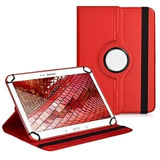 Premium Universal-Hülle für Tablet-PC Arnova 10b G2 10 ZOLL mit DREHFUNKTION und HALTER / STÄNDER-FUNKTION Schutz-Case Flip-Tasche Cover Rot