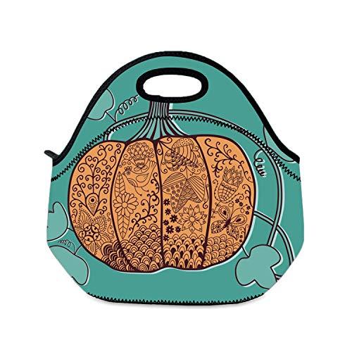 Lunchtaschen-Box für Kinder, kunstvoll verzierter Kürbisstil, Halloween-Karte für Mädchen, Lunchboxen für Schule, Camping, Reisen