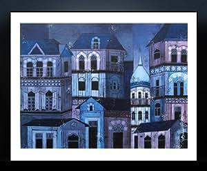 CrudeArea 'Blue Tower' Poster by Suresh Gulage (Frame, 73.66 cm x 58.42 cm)
