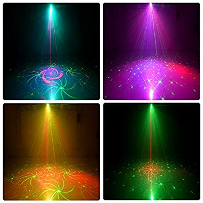 Party Lights RGB 3 Lens 36 Patterns Projector DJ Disco Light Mini LED Strobe Light Sound Activated Stage Lights Indoor for Birthday Parties Wedding Karaoke KTV Bar Christmas Festival