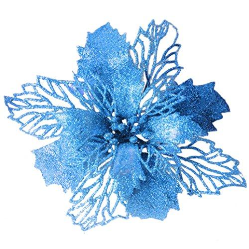 Weihnachten Romantisch Dekoration Hirolan Weihnachtsschmuck Blumenblätter Dekorationen für Hochzeit Party Weihnachtsmänner Zeichenfolge Hängende Weihnachtsbaum Ornament 16CM (Blau)