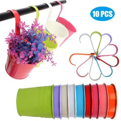 10 Stück Hängetöpfe Blumentopf mit Drainageloch zum Hängen Metall 10CM in 10 Farben Perfekt für Garten Home Décor