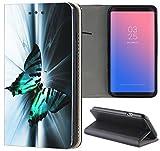 Samsung Galaxy S5 Mini G800 Hülle Premium Smart Einseitig Flipcover Hülle Samsung S5 Mini G800 Flip Case Handyhülle Samsung S5 Mini Motiv (1131 Schmetterling Schwarz Türkis Weiß)