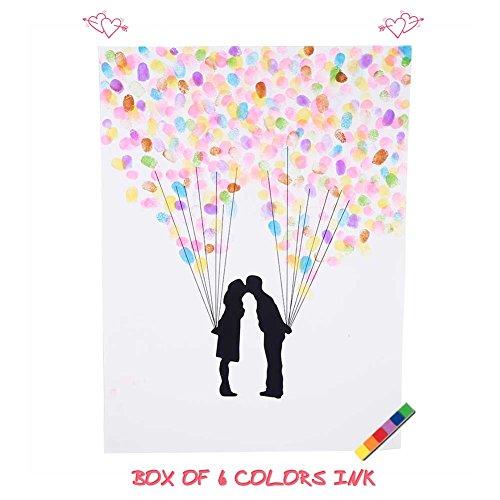 4 Arten Fingerabdruck Baum kundenspezifisches Hochzeits Gästebuch Hochzeits Gästebuch Plakat mit 6 Farben Tinte ( Farbe : TYPE4# )