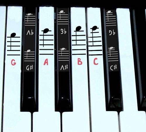 Piano Stickers pour Noir et blanc touches W/complet des notes du personnel Grand pour 49/61/76/88claviers rose