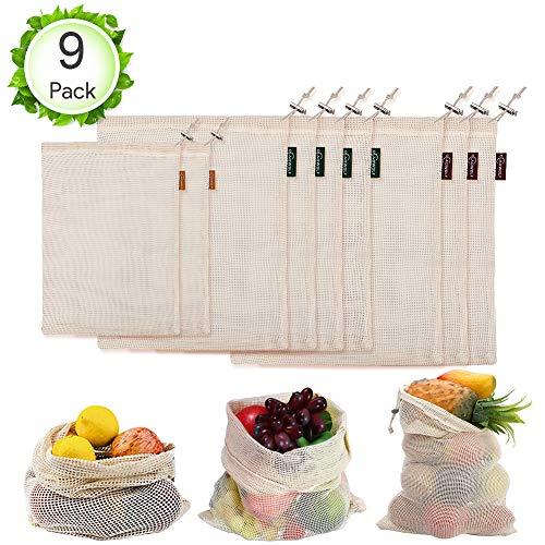 Oladwolf Gemüsebeutel Wiederverwendbar, 9er Set Obst und Gemüse Beutel Zero-Waste Plastikfrei, Gemüsenetz 100{e3a6068244adad769005d50bae13cbeb57fcb8d1f68274e71cb8942b2a8a78de} Bio Baumwolle Waschbar und Atmungsaktiv Ohne BPA