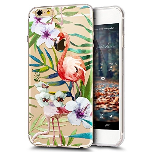 Coque iPhone 6, iPhone 6S Coque en Silicone, SainCat Ultra Slim Transparent Silicone Case Cover pour iPhone 6/6S, Coque Silicone 3D Flamingo Coque Anti-Scratch Soft Gel Cover Coque Caoutchouc Transpar Flamant Blanc