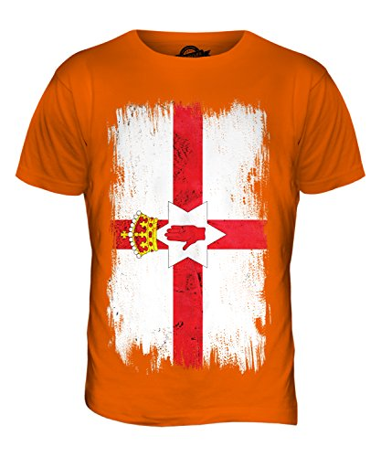 CandyMix Irlanda Del Nord Bandiera Del Grunge T-Shirt da Uomo Maglietta Arancione