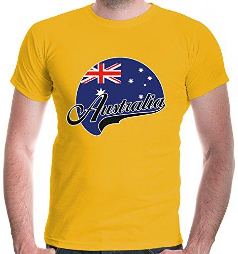 (buXsbaum Herren T-Shirt Australien Logo   Australia Australie Ozeanien   Ländershirt Fanshirt Flagge   XL, Gelb)
