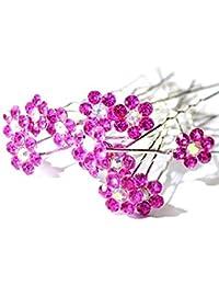 """Alta calidad elegante """"FUSCHIA Big"""" Crystal flores diamante novia para boda, horquillas para el pelo–20pines by Trendz"""