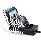 Nexgadget 8-Port USB Ladestation mit 2 AC Steckdosen Ladegerät 68W/2.4A Max Desktop Multi-Gerät Stand Desktop Ladestation Organizer für Smartphone-Pad und mehr USB-Geräte Charged