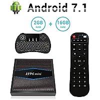 H96 Mini Android 7.1 TV Box Amlogic S905W Quad Core Smart TV Box de 2GB RAM+16GB ROM,Soporta WiFi 2.4/5.0GHz /Ultra Full HD/4K H.265 + Mini Teclado Retroiluminado Inalámbrico