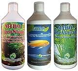 MIBO Spar Set Aquarium Pflege 3 x 1000ml + Algenradierer Wasseraufbereiter Algenvernichter Filteraktivator