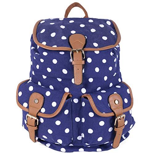 Kukubird POLKA DOT Backpack SPOTTY Rucksack School Bag - DOUBLE POCKET (NAVY) Aa-pocket