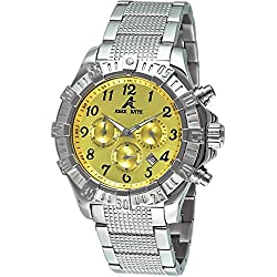 Adee Kaye SS Herren-Armbanduhr 48.3mm Armband Edelstahl + Gehäuse Quarz Zifferblatt Gelb ak7140-M/YW