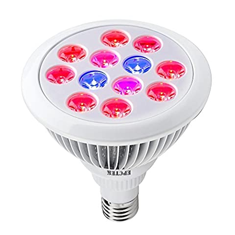 EPCTEK 12 LED Indoor Garden Plant Grow Light Bulb 24W E27(3 Blue LED & 9 Red LED) Hydroponic Lamp for Flower Plants Growth Vegetable Greenhouse