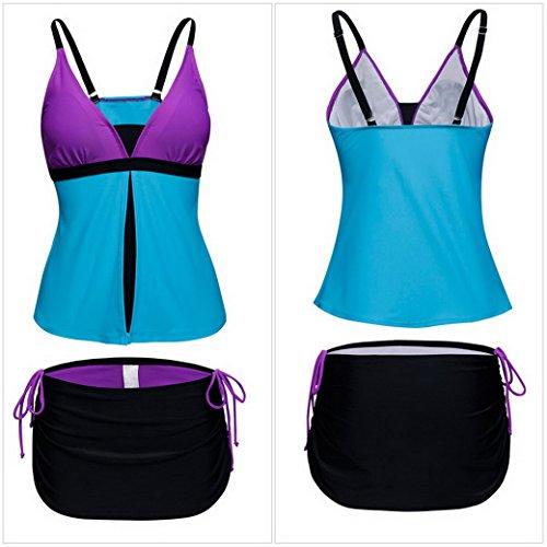 Evedaily Costumi da bagno Donna Tankini Bikini due pezzi con imbottito comodi Senza ferretto costume mare purple-blue