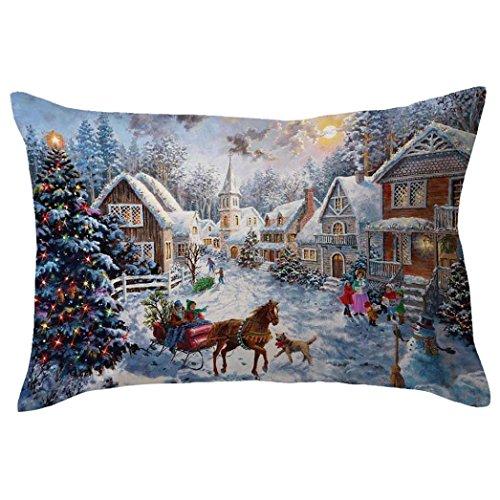 Frohe Weihnachten Kissenbezüge,Kingwo Leinen Kissenbezüge Schneemann Sofa Rechteck Kissenbezug Dekoration (E) (Schneemann-kissen Zustand)