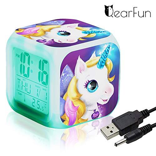 Unicornio Despertador Infantil Relojes de alarma digitales para niñas, LED de noche que brilla intensamente...