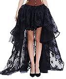 Bslingerie® Damen Gothic Punk Steampunk Spitze Rock Kleidung Kurzer Rock (Schwarz Langer Rock, L)
