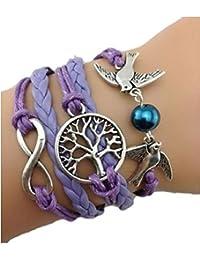 Infinity Bijoux - Pulsera infinito con árbol de la vida, paloma y perla/eternidad/ one direction/ love - violeta / plateado