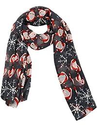 Moonuy Écharpe de Noël de haute qualité Joyeux Noël femmes flocons de neige  en satin-soie imprimée carrée Bali écharpe châle Écharpe… 65c65a5ebab