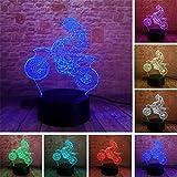 PDDXBB Explosion Modelle Motorrad Serie Bunte Kreative 3D Lichter Led Nachtlicht Geschenk Tischlampe Vision Lichter DREI Farben 4Mm (Weiße Basis Touch)